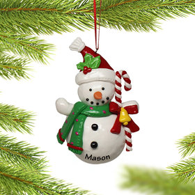 Snowman Holding Candy Cane Ornament