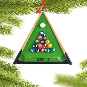 Pool Table with Pool Balls and Cue Sticks Ornament