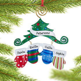 Mitten Family of 4 Ornament