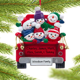 Snowman Family of 6 on Truck Ornament