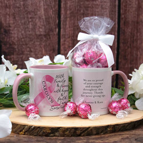 Personalized Breast Cancer Survivor 11oz Mug with Lindt Truffles