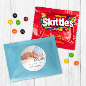 Personalized Boy Birth Announcement Say Hello Photo Skittles
