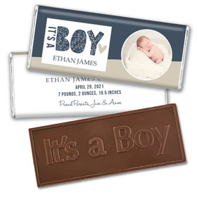 Birth Announcement Personalized Embossed Chocolate Bar Hello World