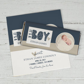 Birth Announcement Personalized Chocolate Bar Wrappers Only It's a Boy