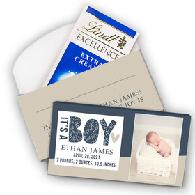 Deluxe Personalized Boy Birth Announcement It's A Boy Lindt Chocolate Bar in Gift Box (3.5oz)