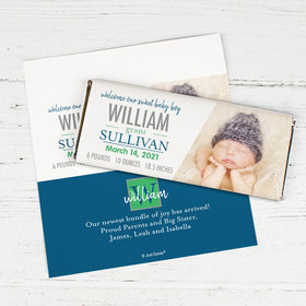 Personalized Blue Monogram Baby Boy Birth Announcement Hershey's Chocolate Bar Wrappers