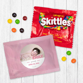 Personalized Girl Birth Announcement Pink Baby Girl Skittles
