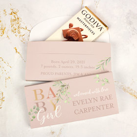 Deluxe Personalized Birth Announcement Baby Girl Godiva Chocolate Bar in Gift Box
