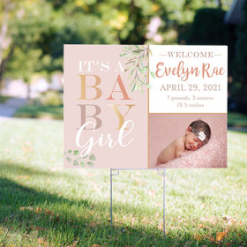 Personalized Baby Girl Birth Announcement Yard Sign