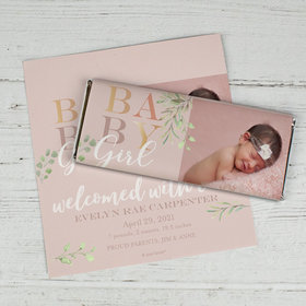 Birth Announcement Personalized Chocolate Bar Wrappers Only Baby Girl