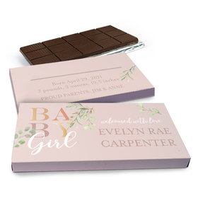 Deluxe Personalized Welcome Baby Girl Chocolate Bar in Gift Box (3oz Bar)