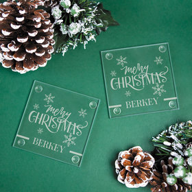 Personalized Glass Coaster- Merry Christmas