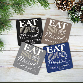 Personalized Cork Coaster (Set of 4)- Eat Drink Married