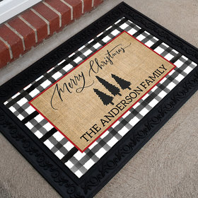 Personalized Doormat Rustic Merry Christmas