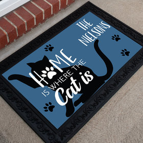 Personalized Doormat Home Is Where the Cat Is