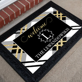 Personalized Doormat Welcome Plaid