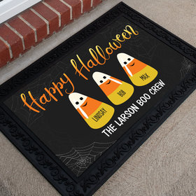 Personalized Doormat Happy Halloween Candy Corn Family of 3