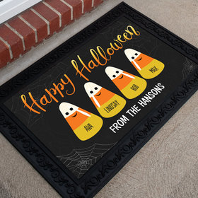 Personalized Doormat Happy Halloween Candy Corn Family of 4