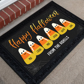 Personalized Doormat Happy Halloween Candy Corn Family of 6