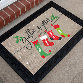 Personalized Doormat Gather Together Stocking Family of 4