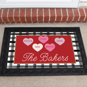 Personalized Doormat Valentine's Day Family of 5
