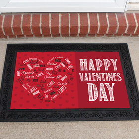 Personalized Doormat Valentine's Day Heart Names