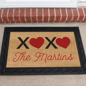 Personalized Doormat Valentine's Day XOXO Family