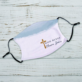 Personalized Adult Face Mask - God Bless Watercolor