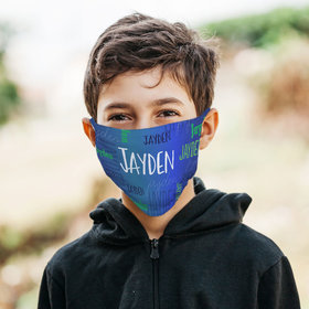 Personalized Face Mask - Blue Repeating Name