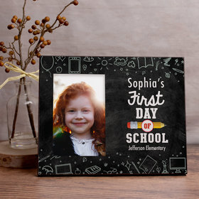 Personalized First Day of School Chalkboard Picture Frame
