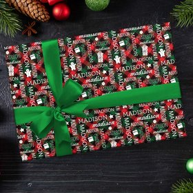 Personalized Plaid Name Word Cloud Christmas Wrapping Paper