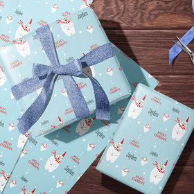Personalized Polar Bears Christmas Wrapping Paper