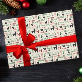 Personalized Reindeer Word Cloud Christmas Wrapping Paper