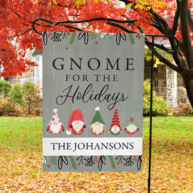 Personalized Christmas Garden Flag - Gnome for the Holidays