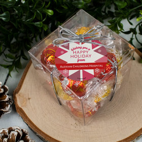 Personalized Christmas Red Snowflake Lindor Truffles by Lindt Cube Gift
