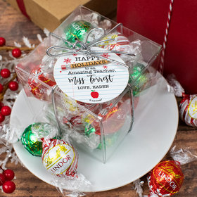 Personalized Christmas To an Amazing Teacher Lindor Truffles by Lindt Cube Gift