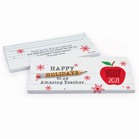 Deluxe Personalized Christmas To an Amazing Teacher Candy Bar Cover