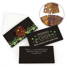 Personalized Christmas Wishing Happiness Cheer and a Happy New Year Gourmet Infused Belgian Chocolate Bars (3.5oz)
