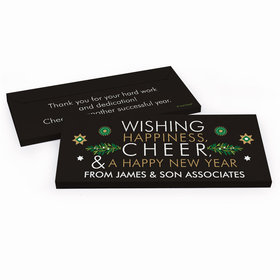 Deluxe Personalized Christmas Wishing Happiness, Cheer, and a Happy New Year Candy Bar Cover