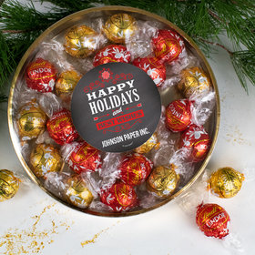 Personalized Christmas Chalkboard Large Plastic Tin with Lindt Truffles (24pcs)