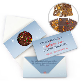Personalized Christmas Oh Come Let Us Adore Him Gourmet Infused Belgian Chocolate Bars (3.5oz)