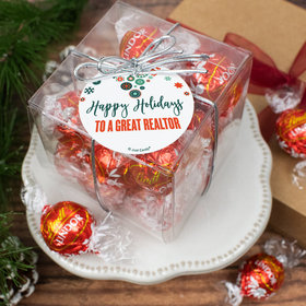 Personalized Christmas Stars and Snowflakes Lindor Truffles by Lindt Cube Gift