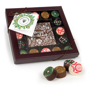 Personalized Christmas Holiday Wreath with Add Your Logo Gourmet Belgian Chocolate Truffle Gift Box (17 pieces)