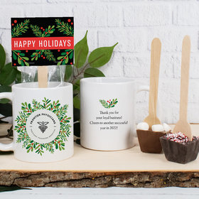 Personalized Christmas Holiday Wreath with Logo 11oz Mug with Hot Chocolate Spoon