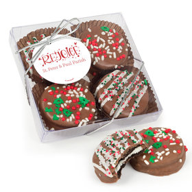 Personalized Christmas Rejoice Gourmet Belgian Chocolate Covered Oreos 4pc Gift Box