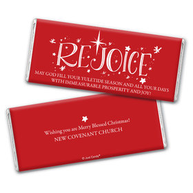 Personalized Christmas Rejoice Chocolate Bar & Wrapper