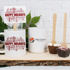 Personalized Christmas Word Cloud with Logo 11oz Mug with Hot Chocolate Spoon