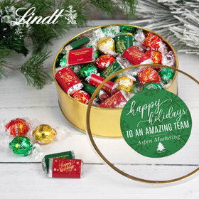 Personalized Christmas Festive Snowflakes Extra-Large Plastic Tin with Approx 1lb Hershey's Miniatures and Lindor Truffles by Lindt