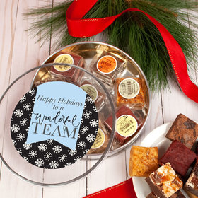 Personalized Ribbon Snowflakes Tin with Brownies (approx 8 pcs)