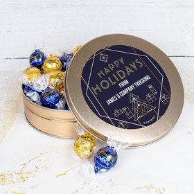 Personalized Christmas Holiday Deco Blue and Gold Tin with Lindt Truffles (approx 45 pcs)